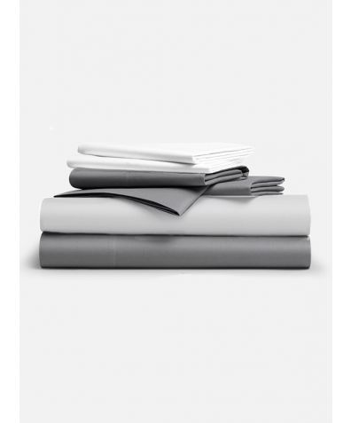 Classic 300 Thread Count Full Set - Smoke Grey & Solid White