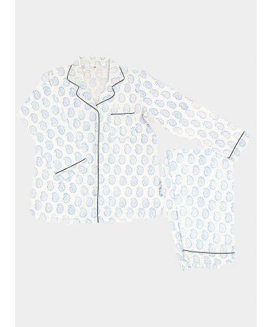 Women's Organic Cotton Pyjama Trouser Set - Blue Paisley