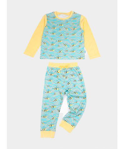 Boys Organic Cotton Jersey Pyjama Trouser Set - Busy Bees