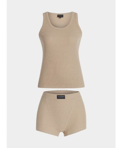 Pyjama Cotton Boxer Set - Beige