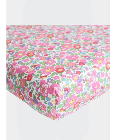 Liberty Print Fitted Sheet - Betsy Fuchsia