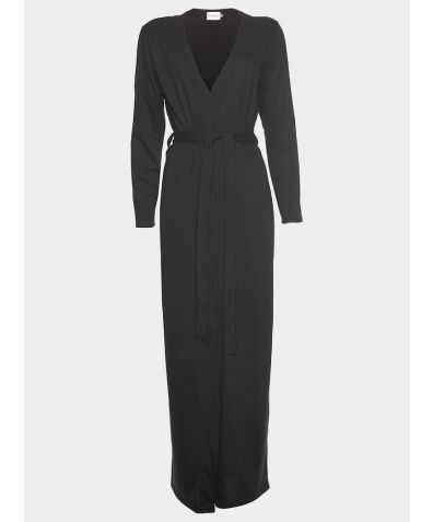 Luxury Cotton Sleep Robe - Black