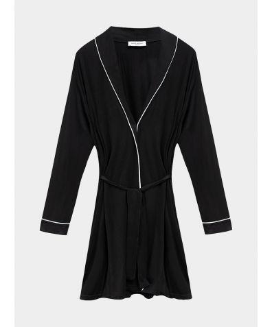 Katherine Bamboo Viscose Robe - Black