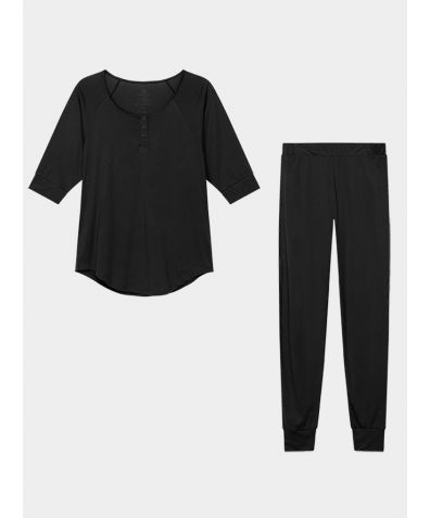 Women's Everyday Organic Pima Cotton Pyjama Trousers Set - Black