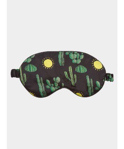 Silk Sleep Mask - Black Cactus