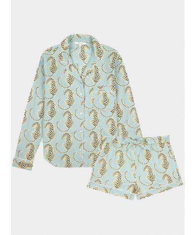 Women's Cotton Pyjama Short Set - Blue Leopard