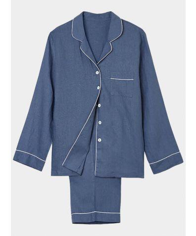 Women's Navy Linen Pyjama Trouser - Set/Separate