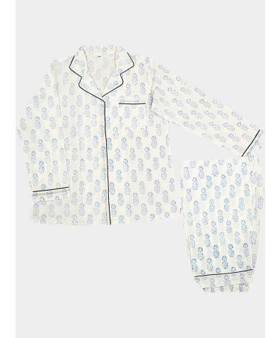 Women's Organic Cotton Pyjama Trouser Set - Blue Pineapple