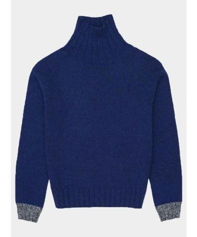 Thame Lambswool Turtle Neck Jumper - Navy