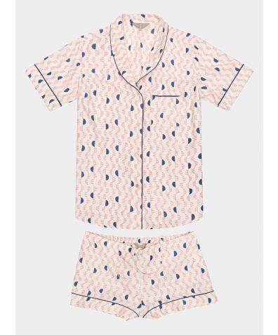 Mulberry Silk Pyjama Short Set - Kochi Pink