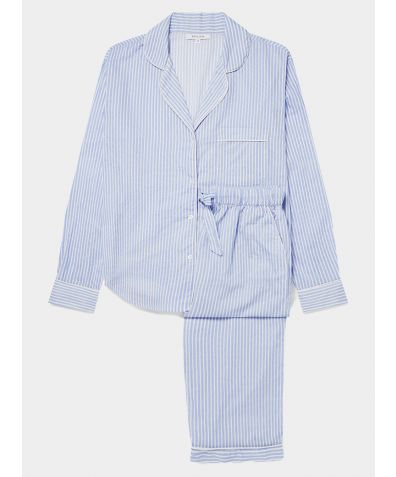 Women's Cotton Pyjama Trouser Set - Blue & White Stripe (SHIPPING THE WEEK COMMENCING THE 22ND MARCH)