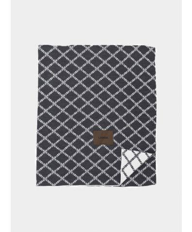 Merino Wool Blanket - Dark Grey- White