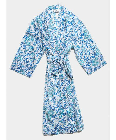 Organic Cotton Block Printed Robe - Blue and Turquoise Floral
