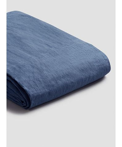 Natural French Flax Linen Duvet Cover - Blueberry