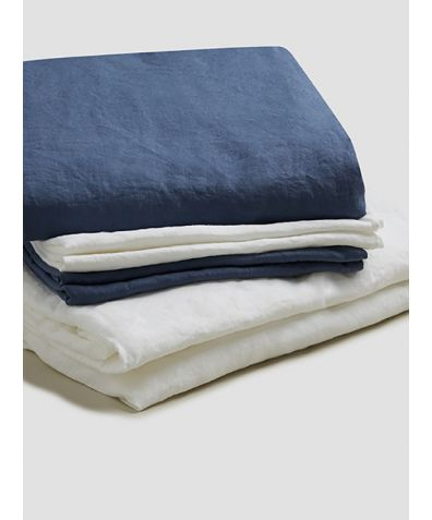 Natural French Flax Linen Bedtime Bundle - Blueberry