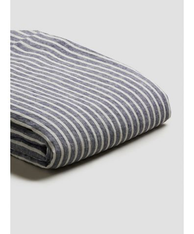 Linen Duvet Cover - Midnight Stripe