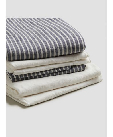 Natural French Flax Linen Bedtime Bundle - Midnight Stripe