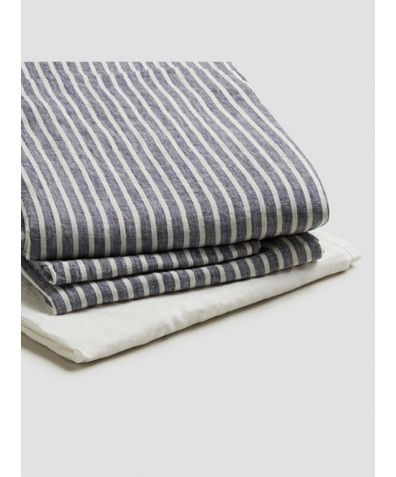 Natural French Flax Linen Basic Bundle - Midnight Stripe