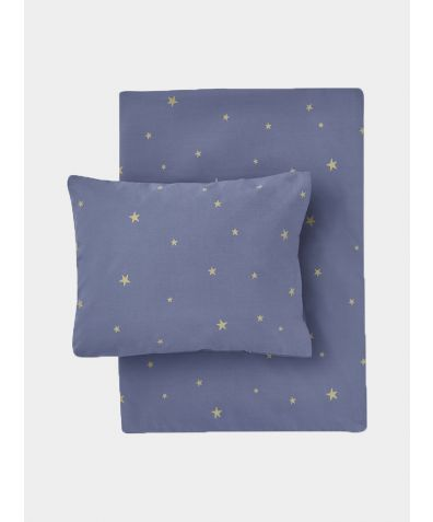 Organic Cotton Bed Linen Set - Starry Sky Indigo / Gold