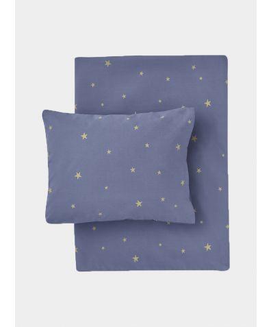 Organic Cotton Bed Linen Set - Starry Sky Indigo / Gold