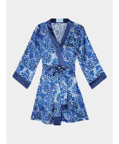 Lotus Silk Robe - Blue