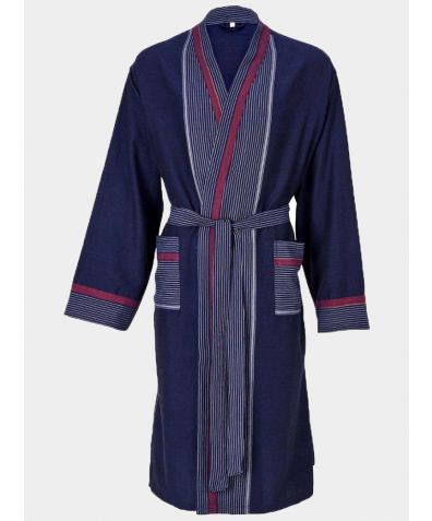 Mete Turkish Cotton Lounge Gown - Navy