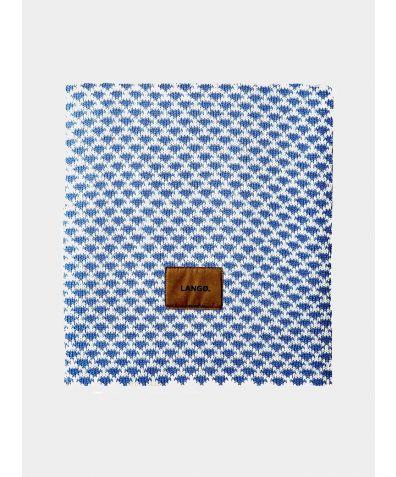 Wool Blanket - Denim Blue - White Drops
