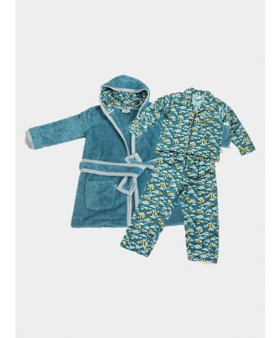 Boys Dressing Gown and Button Up Pyjamas Luxury Gift Set - Busy Bees
