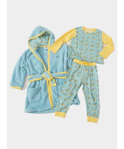 Boys Dressing Gown and Jersey Pyjamas Luxury Gift Set - Busy Bees