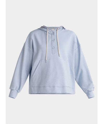 Cotton Button Hoodie - Light Blue