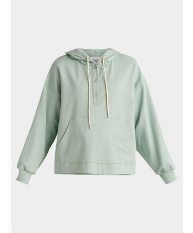 Cotton Button Hoodie - Light Green