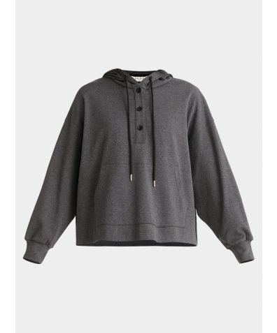 Cotton Button Hoodie - Dark Grey