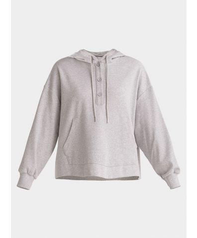 Cotton Button Hoodie - Light Grey