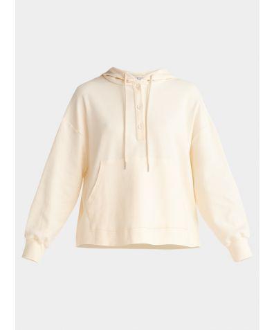 Cotton Button Hoodie - Cream