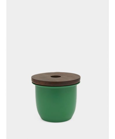 C3 | Small Container - Aluminium with Wood Lid - Green
