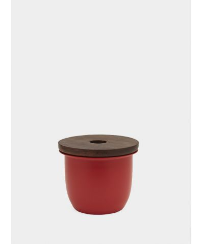 C3 | Small Container - Aluminium with Wood Lid - Red