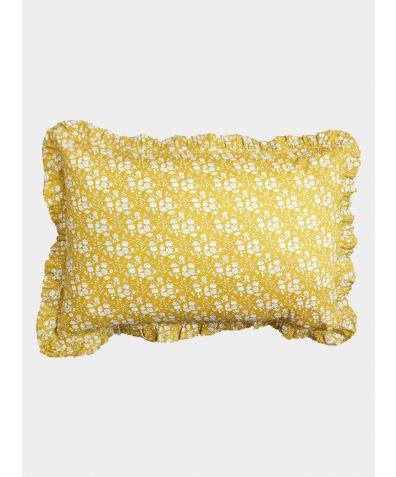 Liberty Print Frill Pillowcase - Capel Mustard