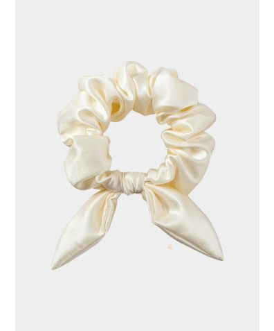 Silk Scrunchie with Knot Detail - Champagne