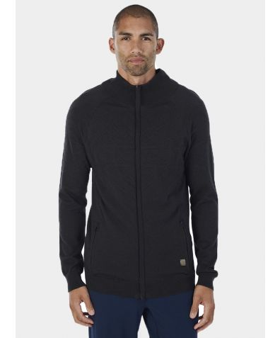 Mens Merino Zip Up Top - Charcoal
