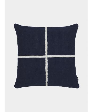 Jama-Khan Hand Woven Cotton Square Cushion - Blue