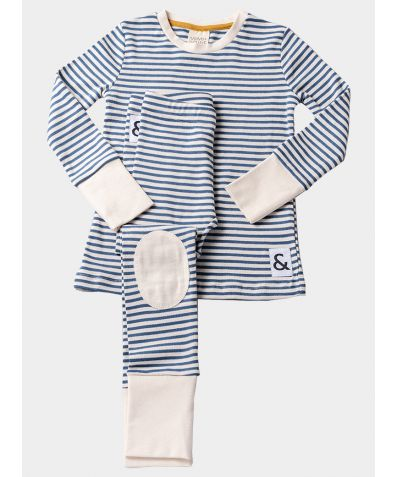 Organic Cotton Cotton Lounge Pyjama Trouser Set - Blue Stripe