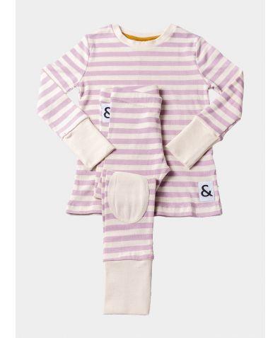 Organic Cotton Lounge Pyjama Trouser Set - Pink Stripe