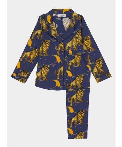 Children's Cotton Pyjama Trouser Set - Navy Lion Moon