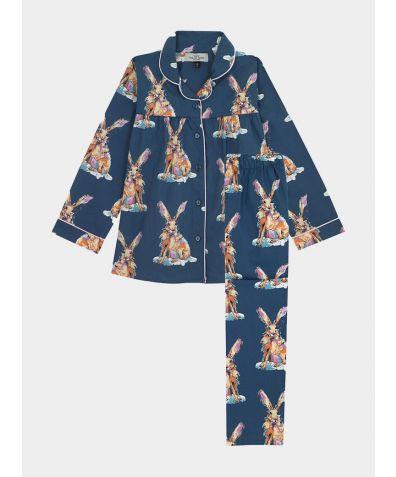Children's Cotton Pyjama Trouser Set - Navy Snow Hare