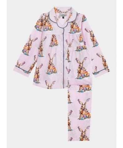 Children's Cotton Pyjama Trouser Set - Pink Snow Hare