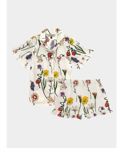 Children's Cotton Pyjama Trouser Set - White Field Flower