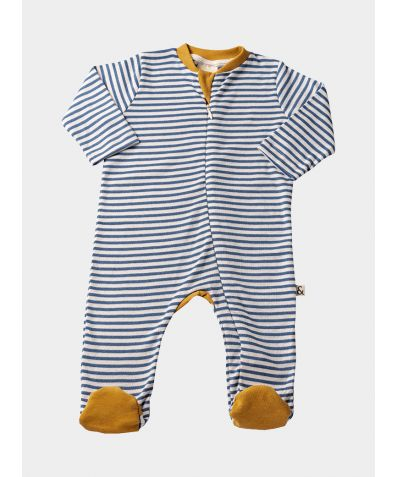 Organic Cotton Contrast Footed Sleepsuit - Blue Stripe