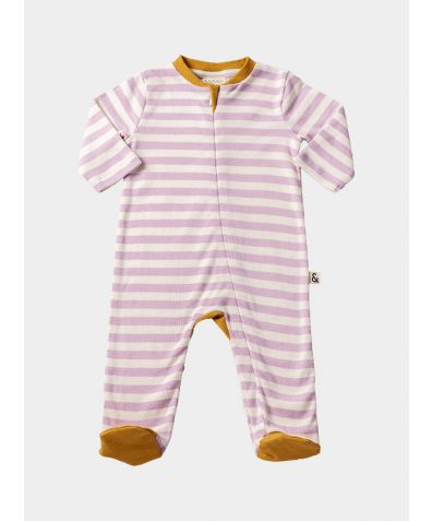 Organic Cotton Contrast Footed Sleepsuit - Pink Stripe