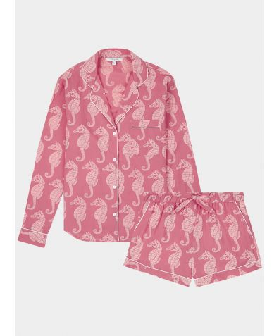 Women's Cotton Pyjama Short Set - Coral Seahorse