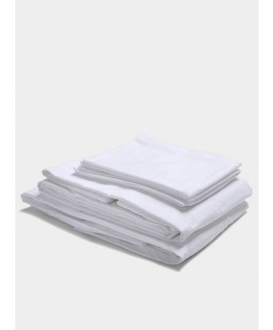 300 Thread Count Egyptian Cotton Percale Bed Set - White
